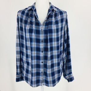 Madewell Plaid Pleated Shoulder Button Down Top